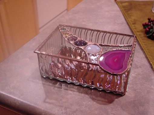 Custom Made Stained Glass Box With Agate And Jewel Top
