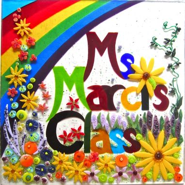 Custom Made Fused Glass Name Panel - Ms. Marci's Class
