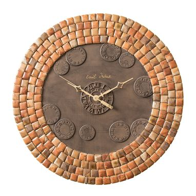 Custom Made Mini Tundra Beige Porcelain Mosaic Wall Clock, Metal, Large, Contemporary, Silent Non Ticking
