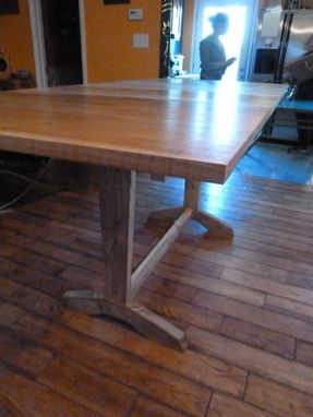 Custom Made Extendable Trestle Table With Modern Flare