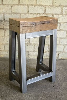 Custom Made Reclaimed Oak And Steel Stool With Footrest