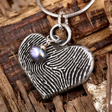 Custom Made Amethyst Sterling Silver Fingerprint Pendant