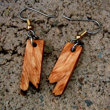 Custom Made Wood Earrings Made Of Maple Burl With Natural Edge...L029