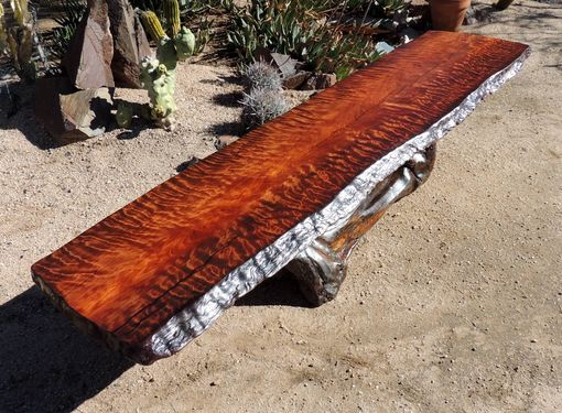 Custom Made Curly Redwood Live Edge Coffee Table