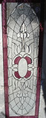Custom Made Purple & Clear Beveled Textured Stained Glass Window