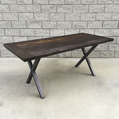 Custom Made Industrial Style Reclaimed Wood And Steel Dining Table Or Desk