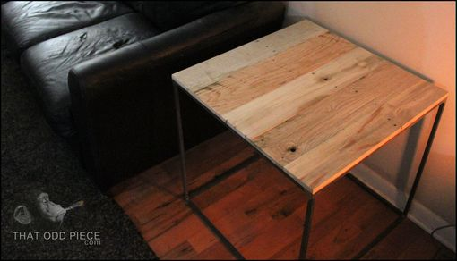 Custom Made Minimalist 2ft Cube Sofa Side End Table Reclaimed Wood Top