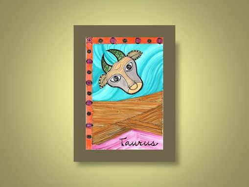 "Custom Made Zodiac Sign Print Taurus Ink And Acrylic Painting 5""X7"" Element Earth"