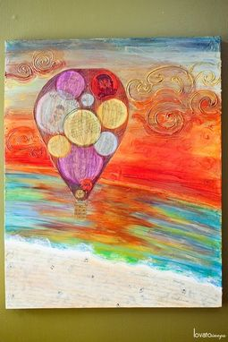 "Custom Made 'Flying High Wedding Anniversary' - 36""X24"" Mixed-Media On Canvas Painting"