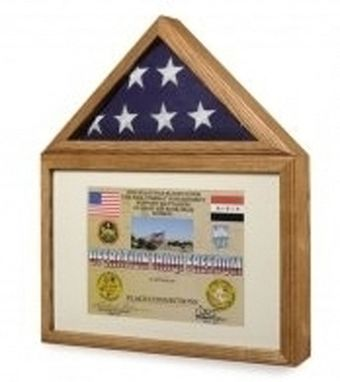 Custom Made Large 3x5 Flag And Military Medals Display Case Cabinet