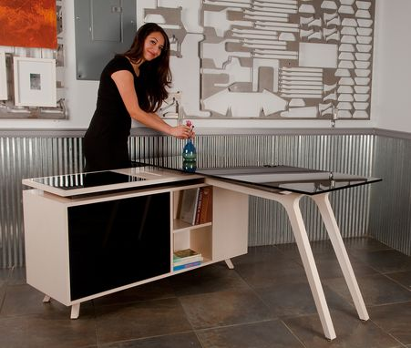 Custom Made Jen Modern Desk & Credenza Glass Top