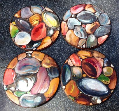 Custom Made Leather River Rock Coasters