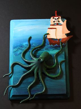 Custom Made Giant Octopus Kraken Attacking Pirate Ship Mixed Media Art Wall Decor