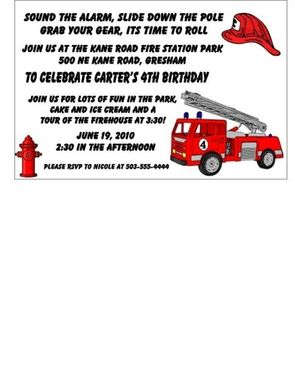 Custom Made 25 Customizable Fireman Childrens Birthday Invitations Listing Stats