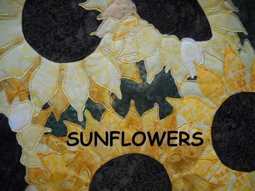 Custom Made Happy Sunflowers In A Vase Quilted Wall Hanging