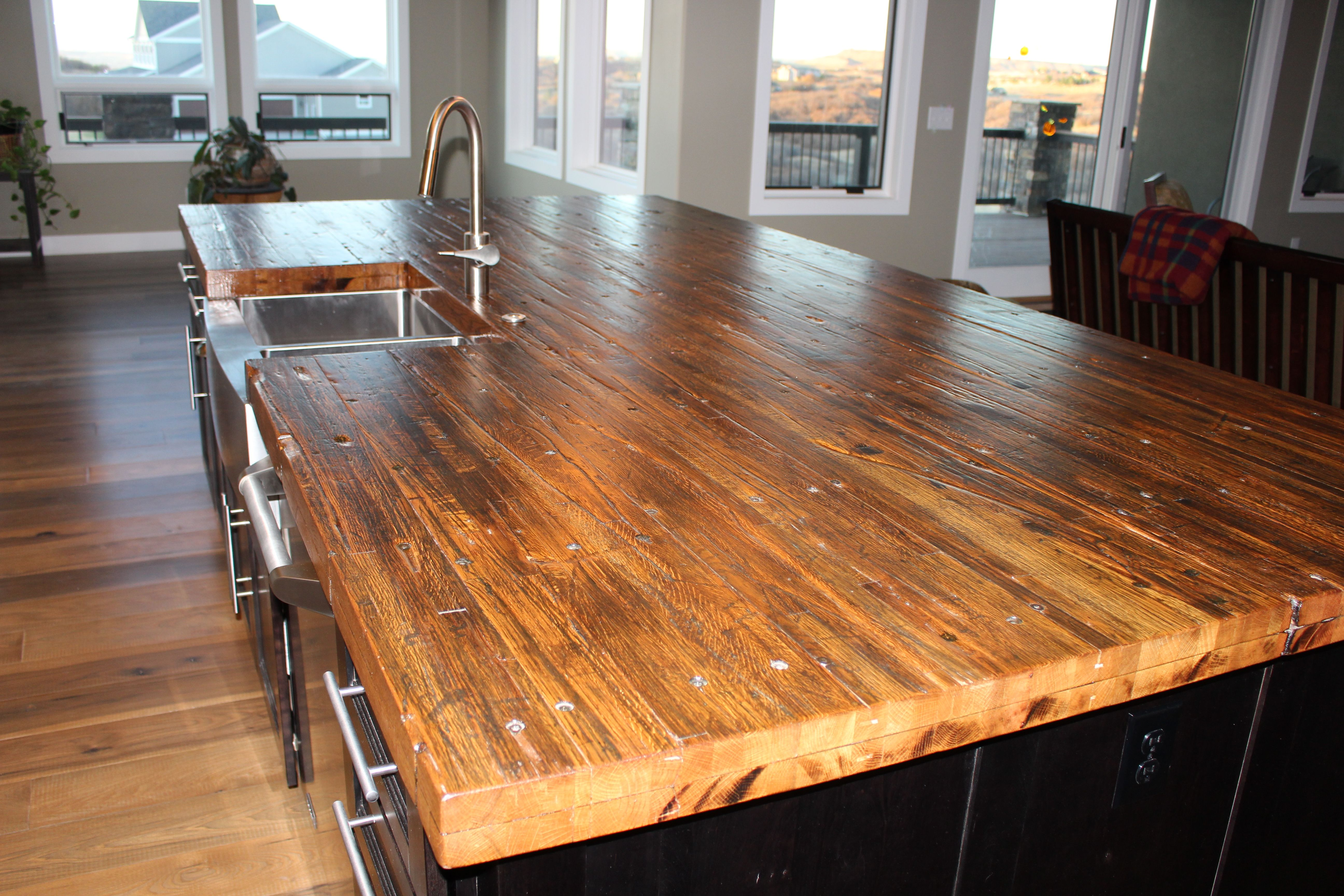 Custom Made Reclaimed Oak Butcher Block Island Top By