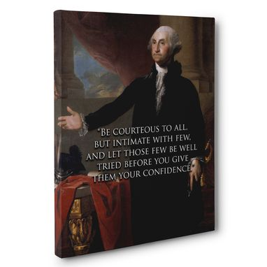 Custom Made Be Courteous George Washington Motivation Quote Canvas Wall Art