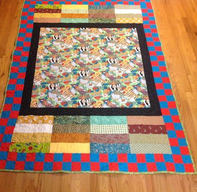 Custom Made Colorful Barnyard Themed Quilt With Beautiful Center Panel, Strips And Blocked Border