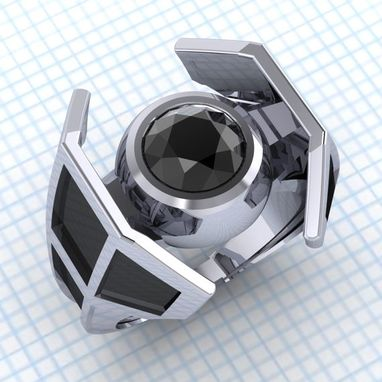 Custom Made Tie The Knot - Tie Fighter Engagement Ring With Black Diamond