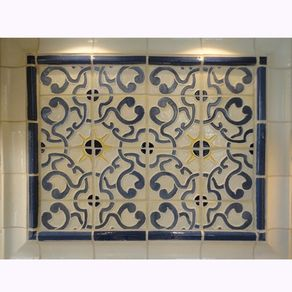 Stoneware Tile Backsplash With Blue Gold Centerpiece By Gregory Aliberti