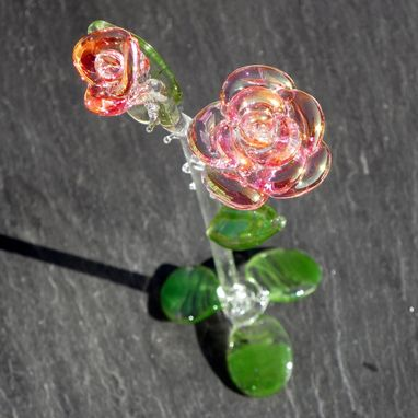 Custom Made Hand-Blown Long-Stemmed Glass Roses In Pink And Gold