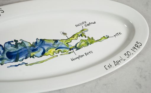 Custom Made Map Ceramic Serving Platter With Locations