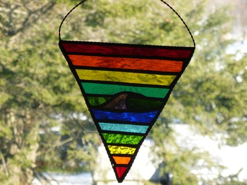 Custom Made Rhode Island Rainbow Pride Wave Stained Glass Art
