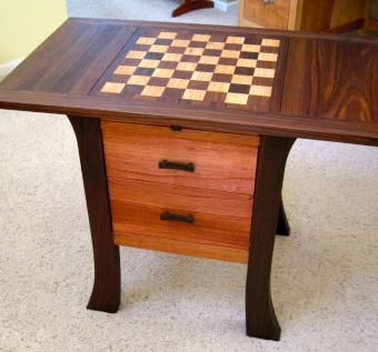 Custom Made Game / Chess Table - Mahogany And Black Walnut