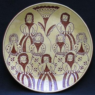 "Custom Made ""Nine Ladies Dancing""  , Ceramic Plate"