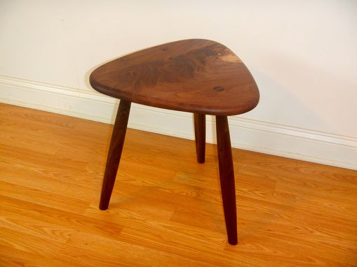 Custom Made Mid Century Modern Live Edge Three Leg Table / Stool