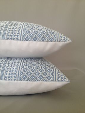 Custom Made Blue And White Miguel Pattern Pillow Cover From Victoria Hagan Home Collection