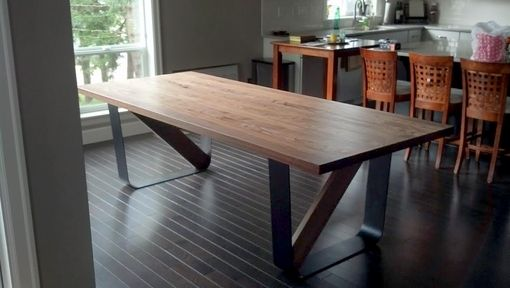 Custom Made Contemporary Steel Leg Dining Table