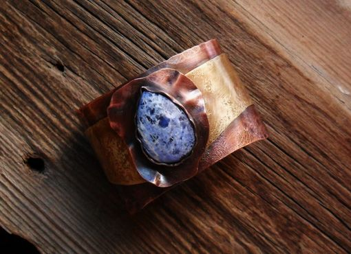 Custom Made Sodalite Mixed Metals Copper And Brass Cuff Bracelet