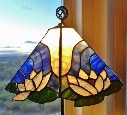 Custom Made Lotus Flower Stained Glass Lamp