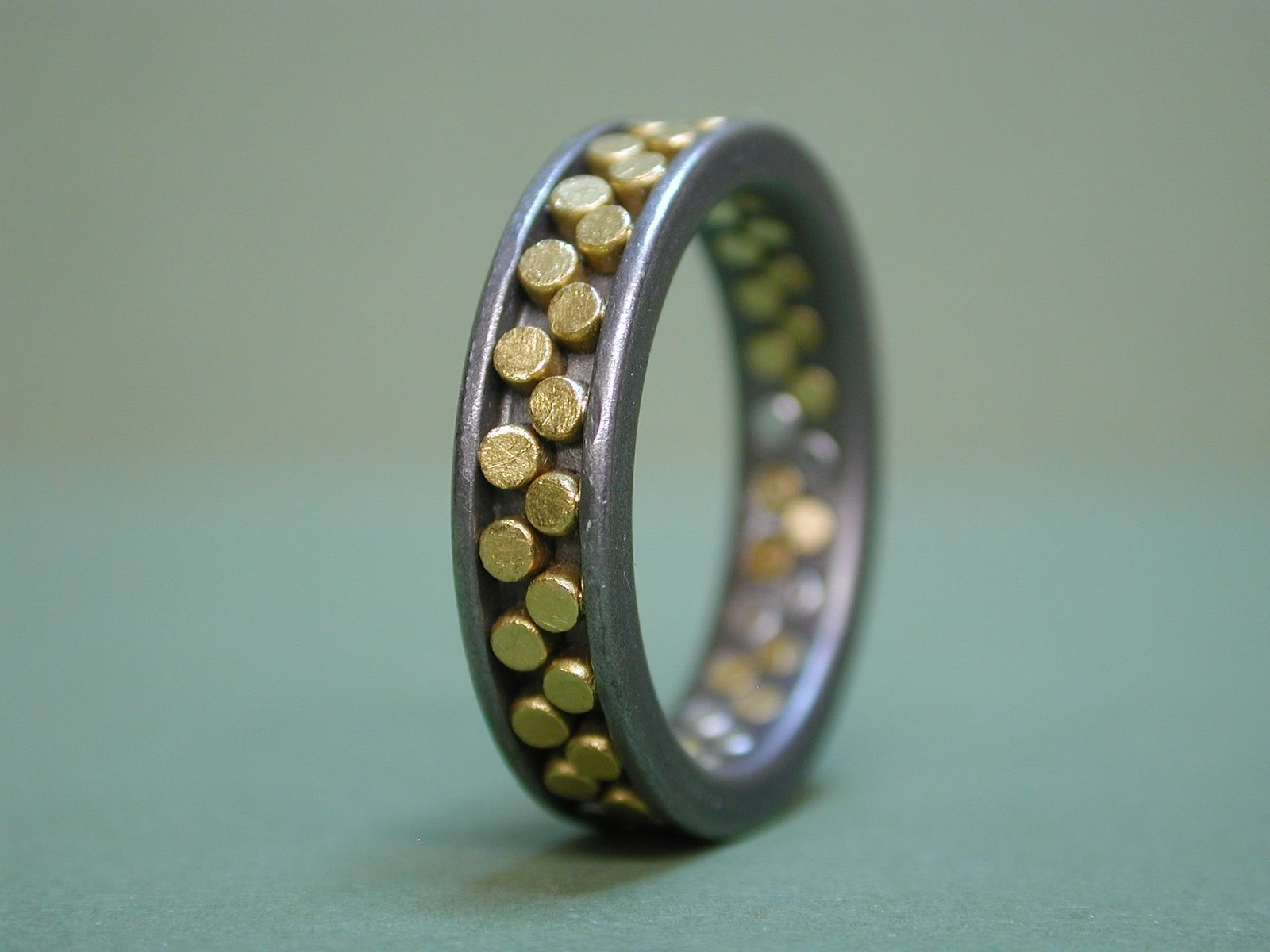 custom made titanium wedding ring with 24k gold rivets - Custom Made Wedding Rings