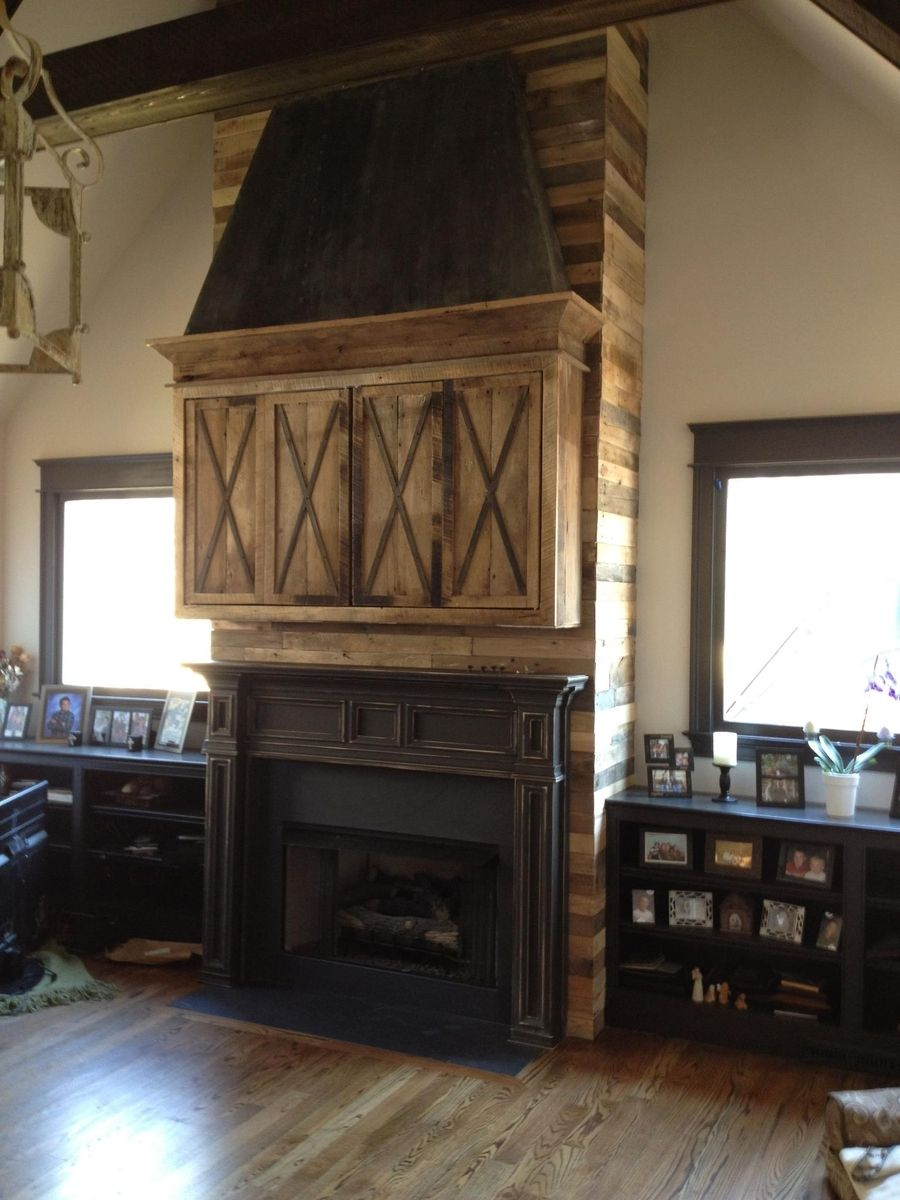 Handmade Fireplace Installation Mantle Media Cabinet