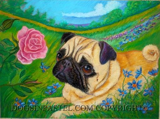 Custom Made Custom Oil Pastel Portrait Of Your Dog In A Natural Background Of Your Choice