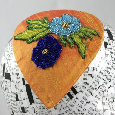 Custom Made Sherbet And Blue Flower Beaded Fascinator, Marty Robbins