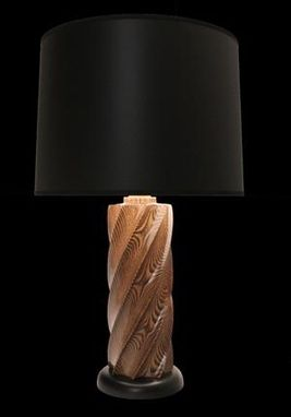 Custom Made Hand Carved Sassafras Table Lamp