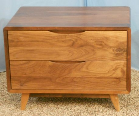 Custom Made Two-Drawer Danish Modern Nightstand