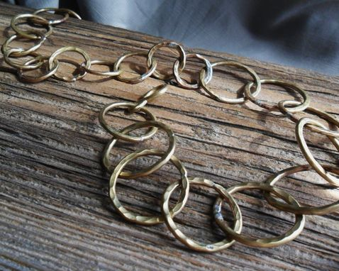 Custom Made Hammered Brass Links Necklace