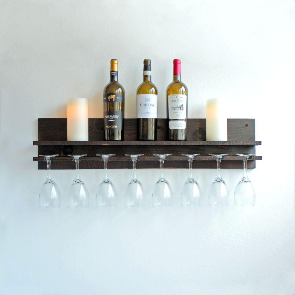 Buy A Hand Made Rustic Wine Rack Shelf Hanging Stemware Glass