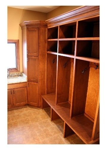 Custom Made Mudroom Entryway Wood Lockers