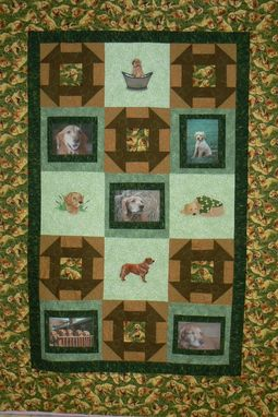 Custom Made Custom Made Photo Custom Golden Retriever Quilt