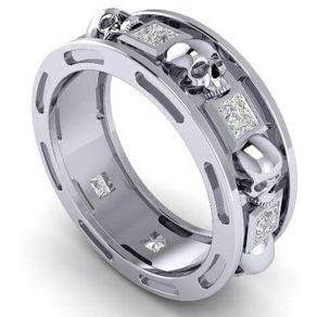 skull wedding band with genuine diamonds by dr tom raspotnik - Skull Wedding Rings