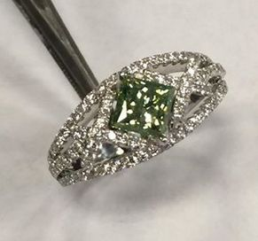 Custom Made Green Diamond Engagement Ring