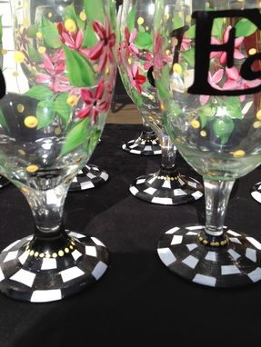 Custom Made Hand Painted Daisy Stemware - Black And White Check - Wine - Martini - Goblet