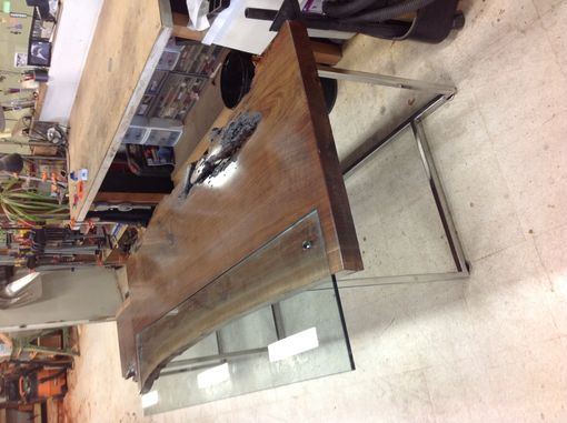 Custom Made Modern Walnut Slab Conference Table And Desk