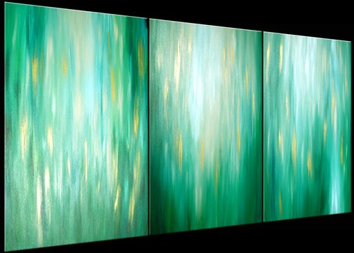 Custom Made Original Green Abstract Painting, Large Green Original Painting Lafferty - 36x72, Sale 22% Off