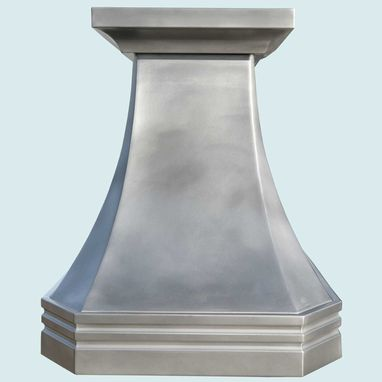 Custom Made Pewter Range Hood With Mont St. Michel Band